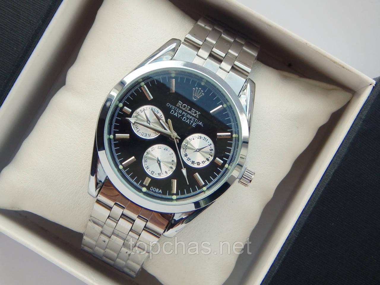 Мужские кварцевые наручные часы Rolex на металлическом ремешке, фото 1