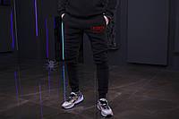 Зимние мужские спортивные штаны, мужские штаны на флисе, зимові чоловічі штани Lacoste Red, Реплика