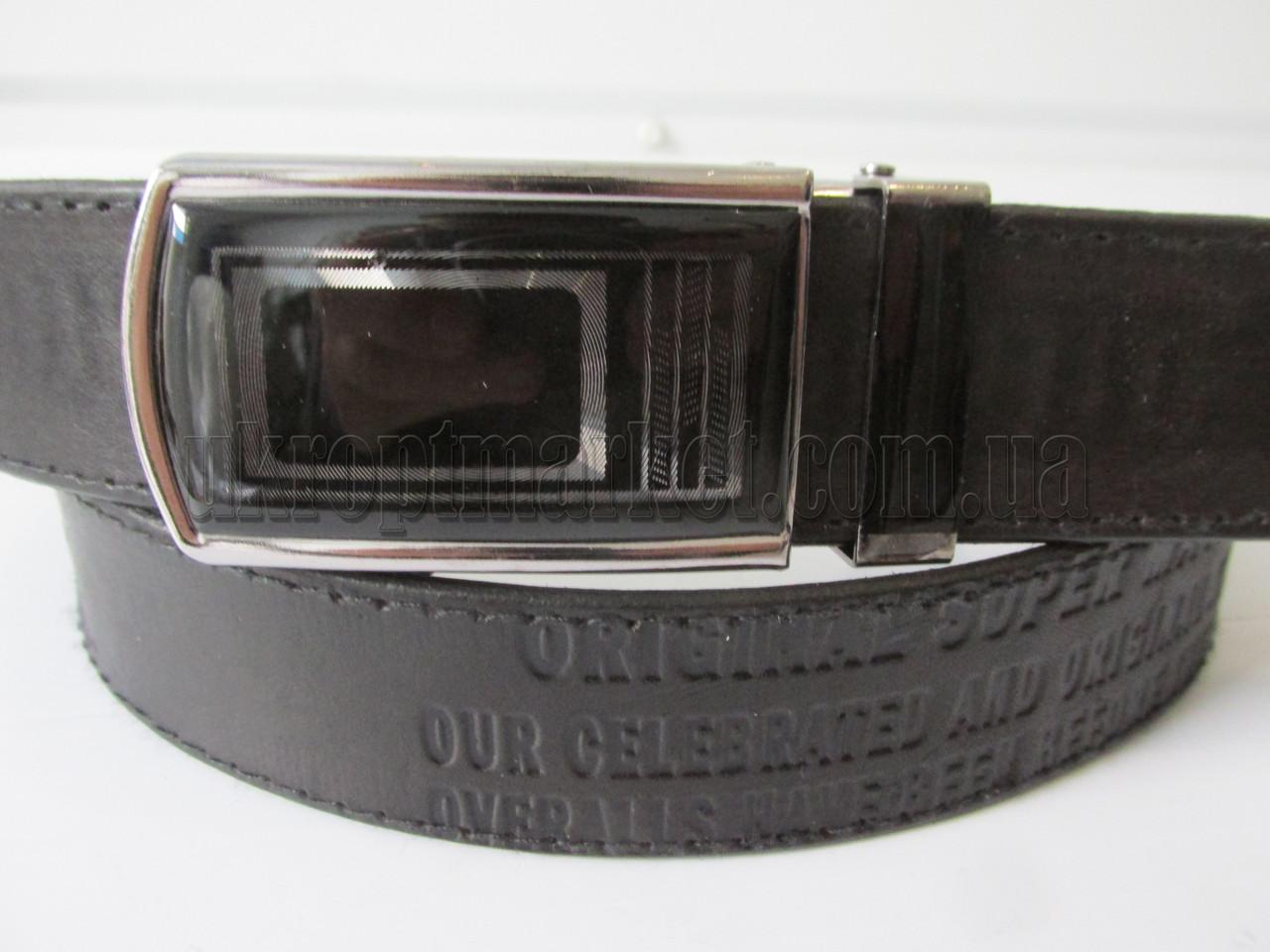 """Ремень мужской джинсовый автомат черный(кожа, 35 мм.)  """"Remen"""" LM-638"""