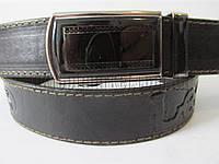 """Ремень мужской джинсовый автомат черный(кожа, 35 мм.) №М18079 """"Remen"""" LM-638"""