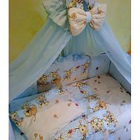 Кроватка+постель балдахин+ матрас кокос+ держатель