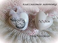 Подвеска пластиковая сердце сердечко заготовка для декупажа и декора