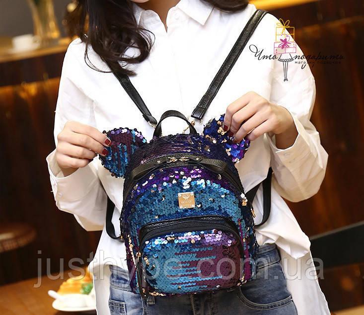 Рюкзак с пайетками Микки меняющий цвет   Код 10-6474