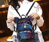 Рюкзак с пайетками Микки меняющий цвет   Код 10-6477, фото 5