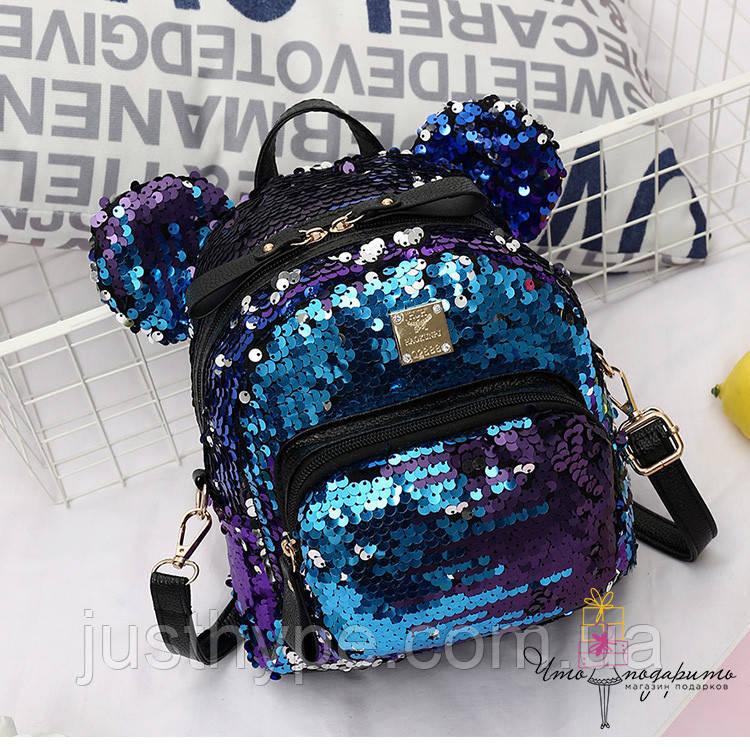Рюкзак с пайетками Микки меняющий цвет   Код 10-6482