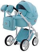 Детская коляска 2 в 1 Adamex Luciano кожа Q112 голубой, фото 1