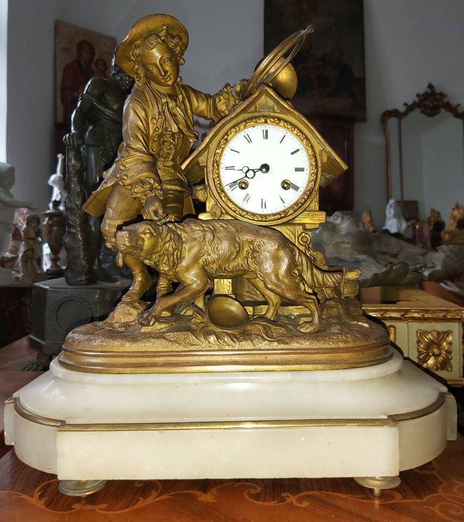 Годинник камінні Хлопчик з собакою Франція