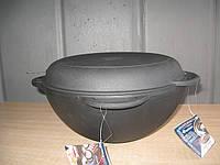 Казан чугунный азиатский, с чугунной крышкой-сковородой. Объем 6 литров.