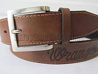 """Ремень мужской джинсовый шпенек коричневый(кл.кожа, 40 мм.) №М18097 """"Remen"""" LM-638"""