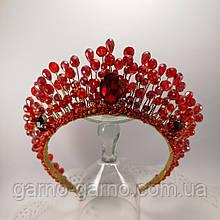 Корона красная хрустальная Диадема красная Тиара рубиновая