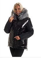 Женская куртка модная зимняя теплая новинка 44-52 р цвет черный