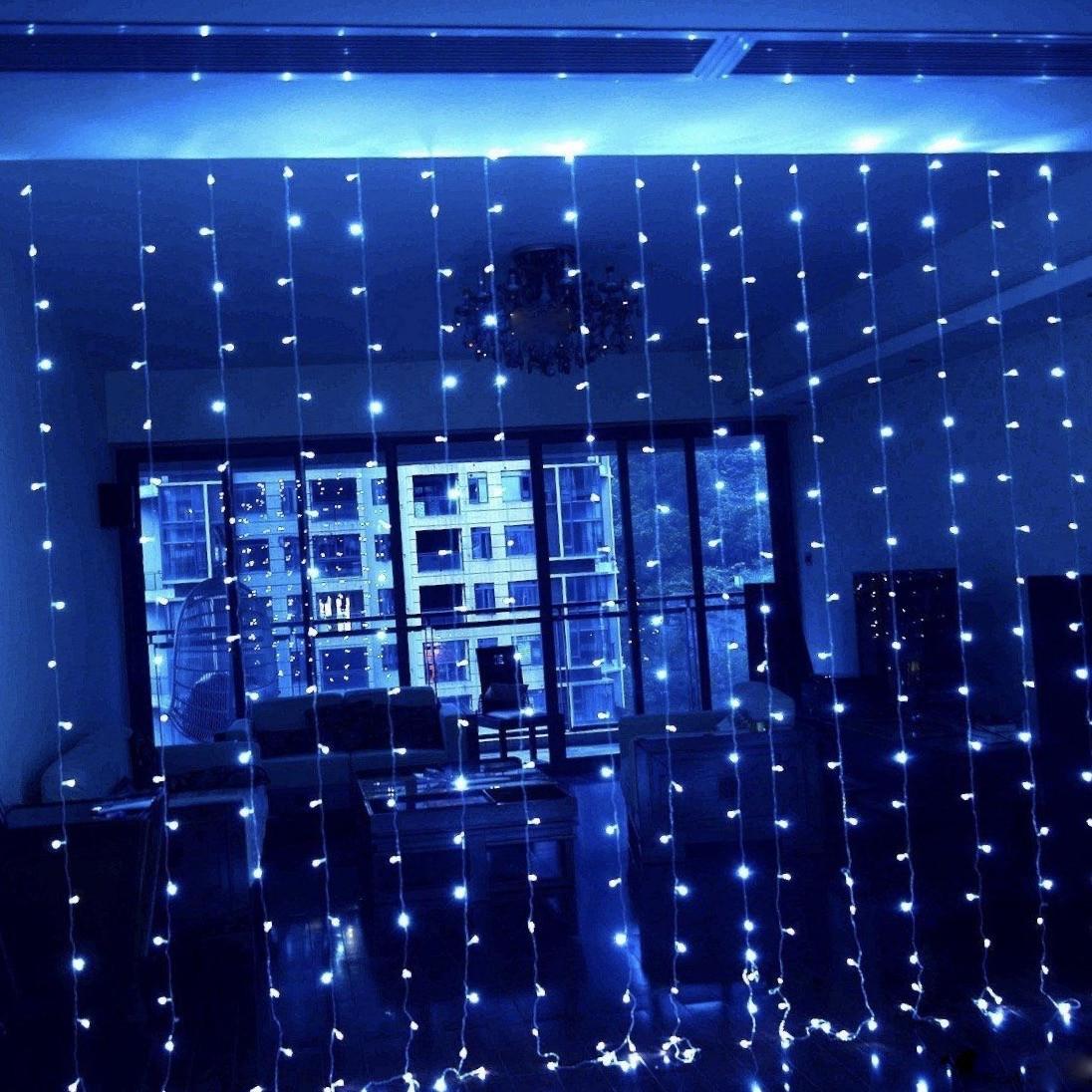 Гирлянда Водопад Alphatrade 2,5*2,5 м, 480 диодов, прозрачный провод, цвет синий