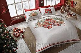 TAC Santa Сатин - комплект постельного белье евро (новогодний)