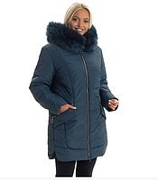 Женская куртка модная зимняя теплая с мехом песца большого размера 48-60 р цвет малахит