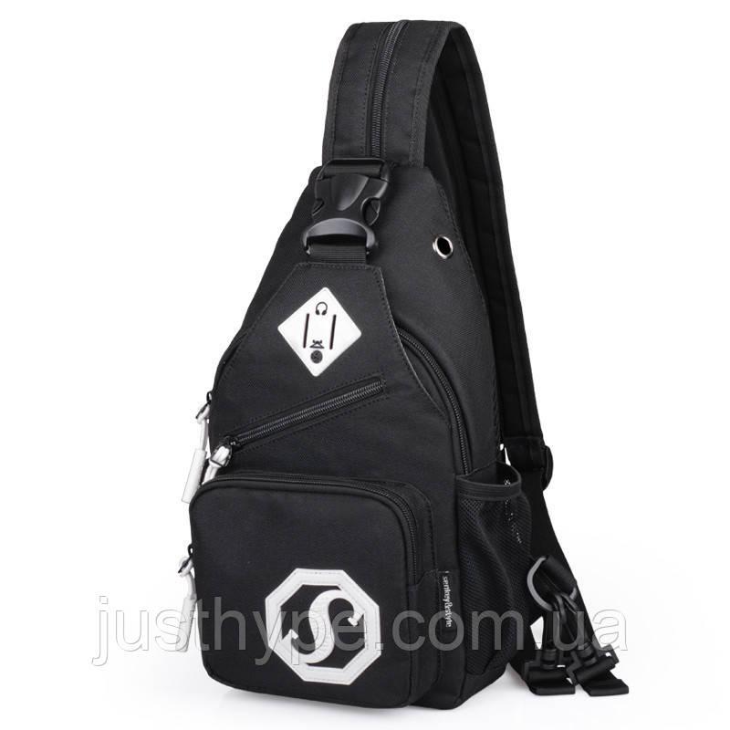 Сумка через плече c usb Sankey мини рюкзак городской черный  Код 13-7179