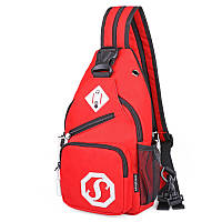 Сумка через плече Sankey мини рюкзак городской красный  Код 13-7129