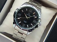Мужские кварцевые наручные часы Omega на металлическом ремешке, фото 1
