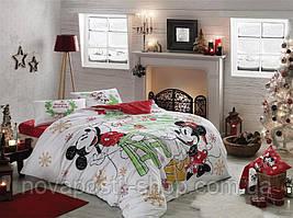 TAC Mickey & Minnie Yeni Yil - новогодний комплект постельного белья евро (ранфорс, 100% хлопок)