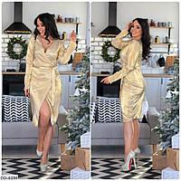 Изысканное платье с запахом из гофрированного атласа 50-52, 54-56 размера