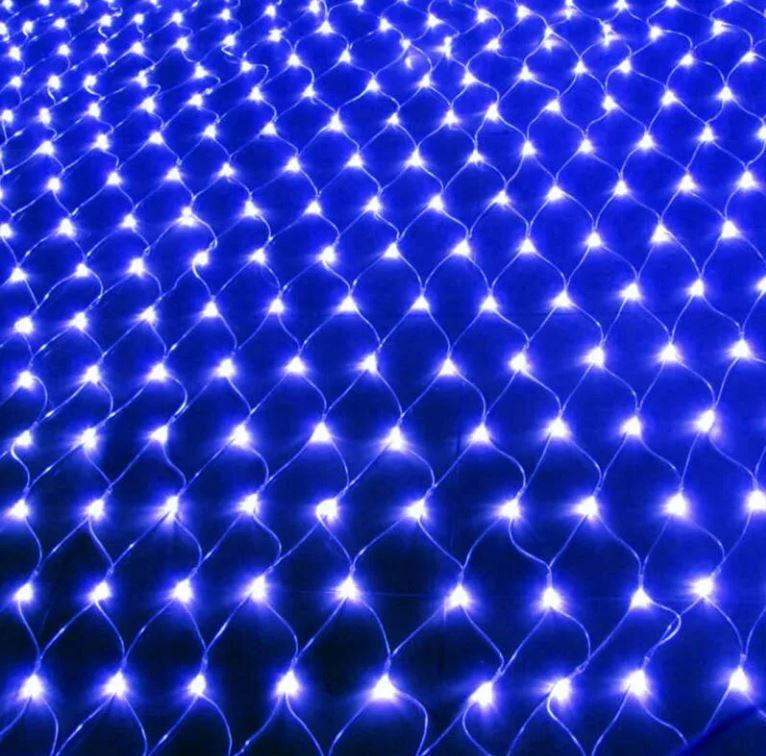 Гирлянда Сетка, 240 led, голубая, прозрачный провод, 1х3м.