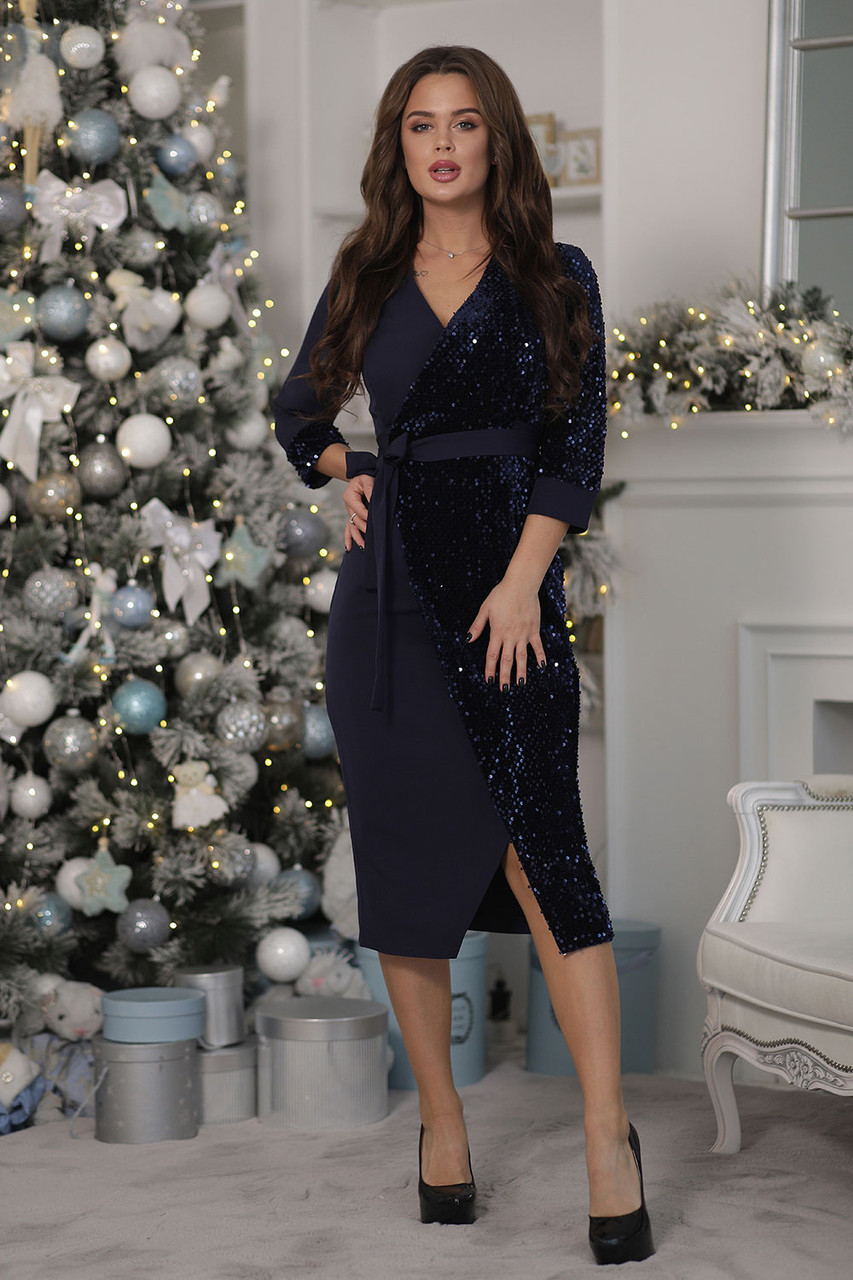 Вечернее Платье на запах темно-синее
