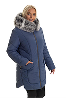 Женская куртка модная зимняя теплая с мехом песца большого размера 48-60 р цвет джинс