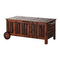IKEA ЭПЛАРО Садовая скамья с ящиком, коричневый коричневая морилка, 122x50 см, (902.342.07)