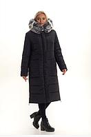 Женский пуховик яркий большого размера с песцом 48-58 р цвет черный
