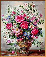 Живопись по номерам Букет роз и полевых цветов (в раме) (NB1050R) 40 х 50 см DIY Babylon Premium (в раме)