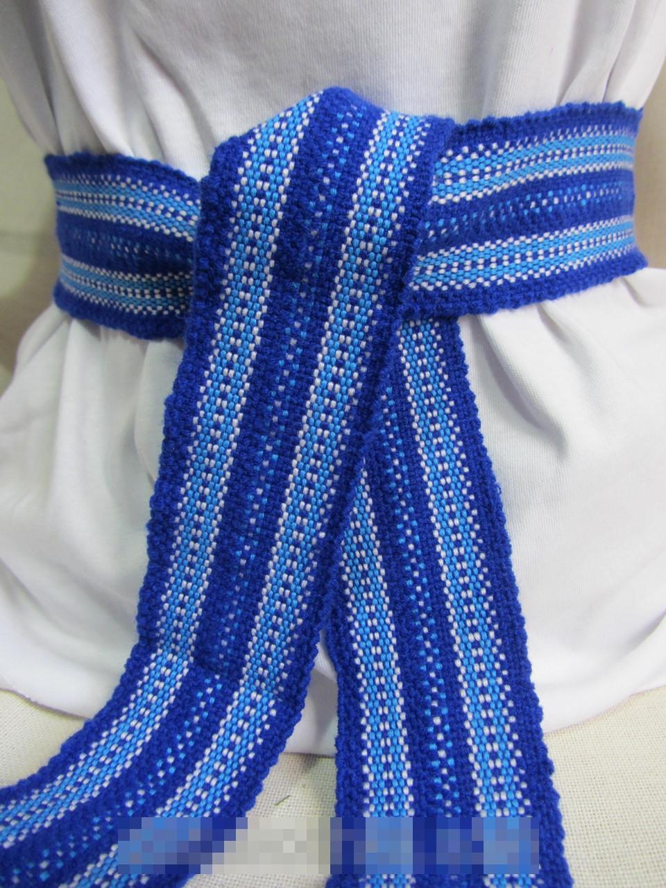 Пояс тканый синий