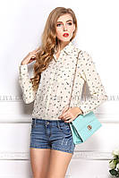 Блузка женская / рубашка с якорями молочная, фото 1