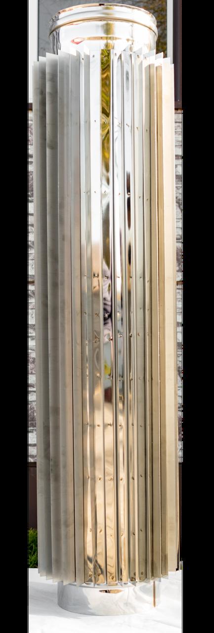 Труба радиатор дымоходная L 1000 мм нерж стенка 0,8 мм 140