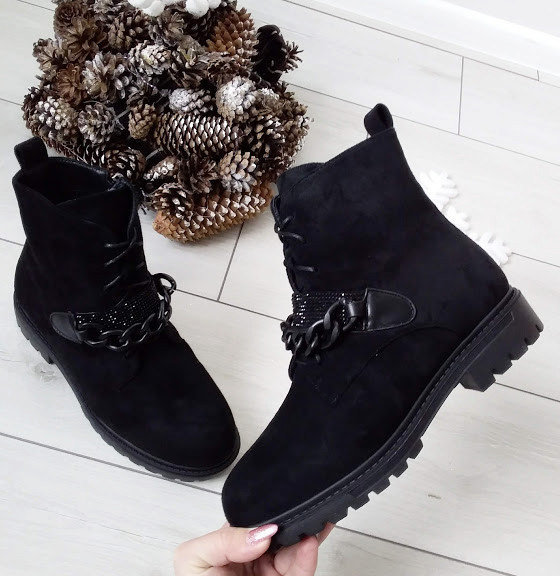 Черевики жіночі чорні зимові екозамша