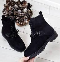 Черевики жіночі чорні зимові екозамша, фото 1