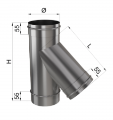 Тройник дымохода 45° нерж 0,8 мм 250мм