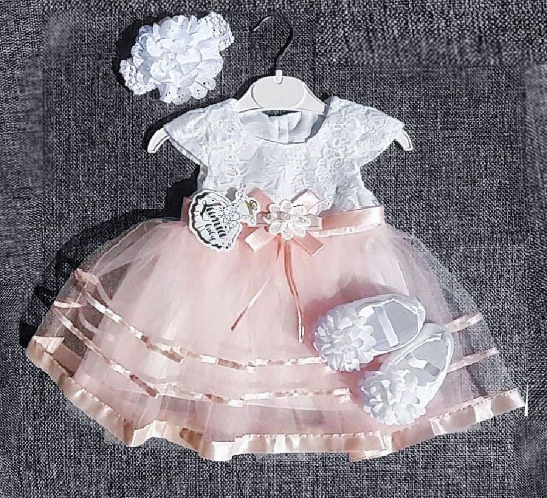 Нарядное платье с цветком для девочки Турция р. 12 мес., 18 мес. на праздник, на крещение
