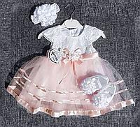 Нарядное платье с цветком для девочки Турция р. 12 мес., 18 мес. на праздник, на крещение, фото 1