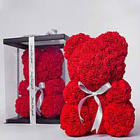 Мишка из роз в прозрачной подарочной коробке, 40 см красный. Сделан в Украине - 141153, фото 1