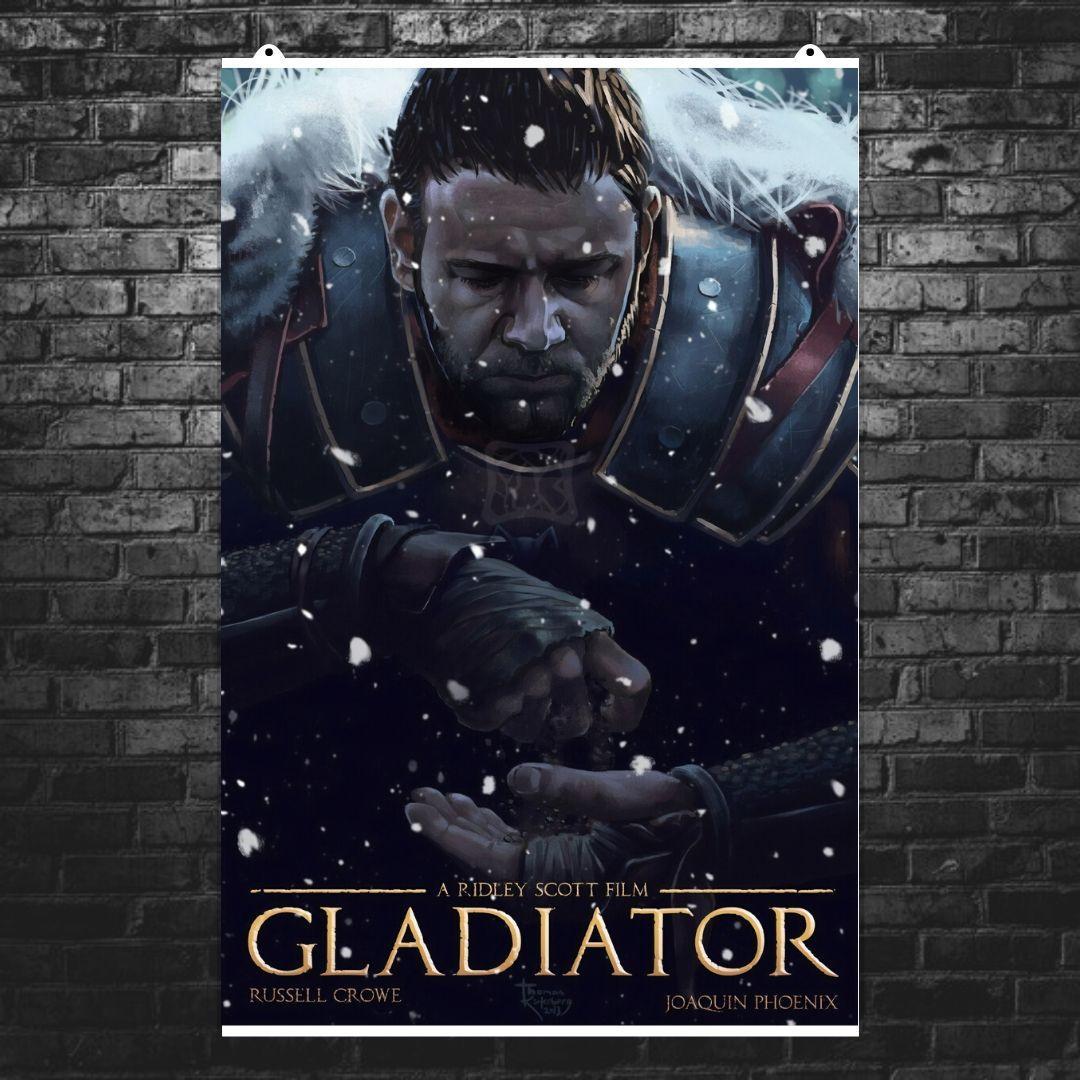 """Постер """"Гладиатор (2000). Рисунок"""". Gladiator, Рассел Кроу, Хоакин Феникс, Ридли Скотт. Размер 60x40см (A2). Глянцевая бумага"""