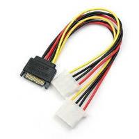 Переходник питания SATA Male to Molex 4-pin, 15см, двойной