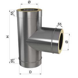 Тройник дымоходный 90° нерж\оц 0,8 мм 300/360мм