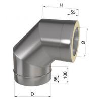 Колено дымохода 90° нерж/оц 1 мм 180/250