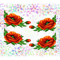 "Водорастворимый флизелин с рисунком ""Confetti"" (K 210 Маки)"