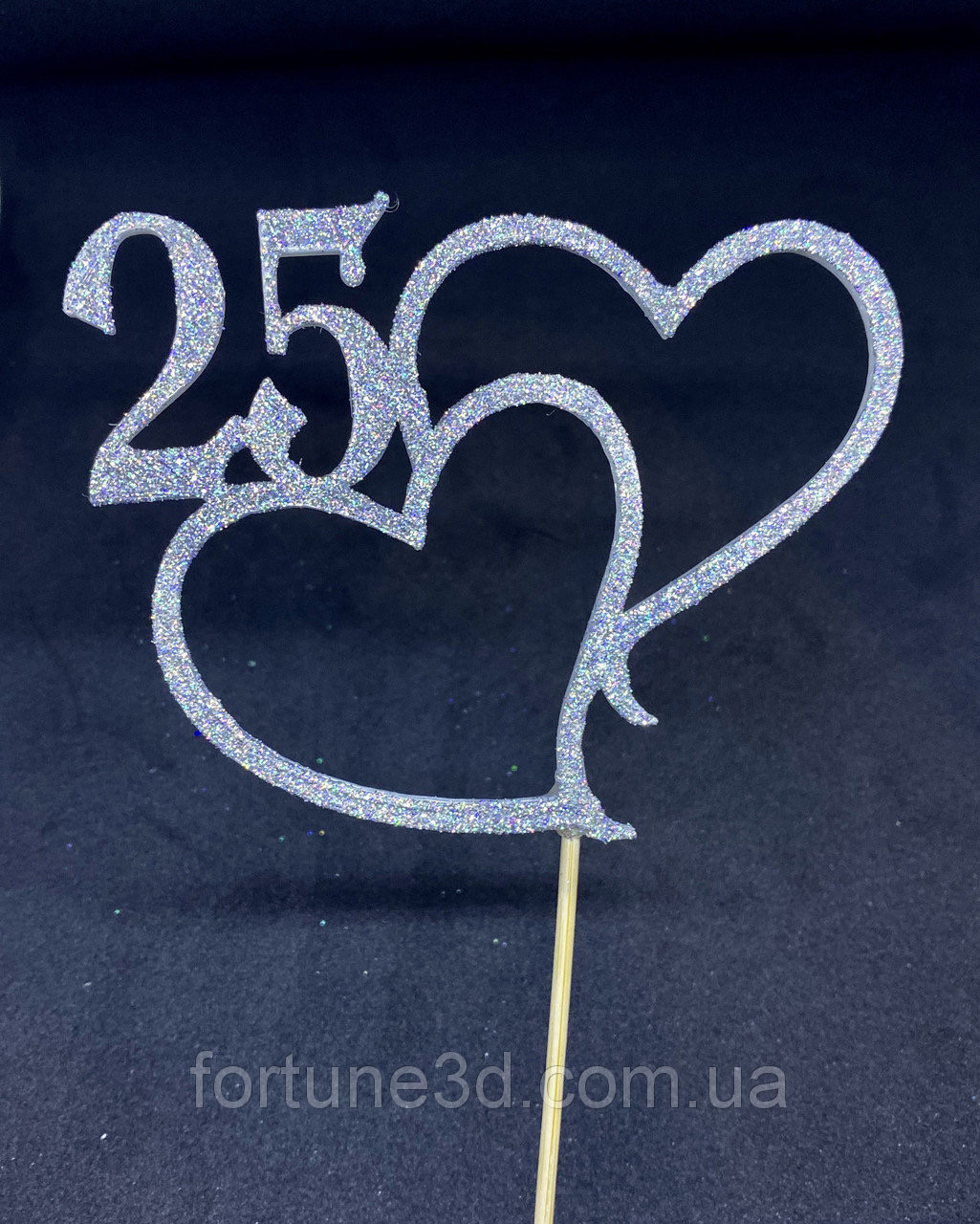 Топпер 2 серця з індивідуальною цифрою Пластикові топпери Топпери в блискітках Топпери на замовлення