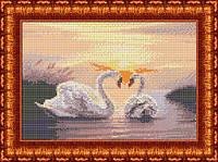 Схема для вышивки бисером Закат. Лебеди