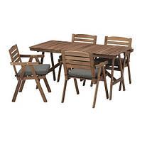 IKEA ФАЛЬХОЛЬМЕН Стол+4 кресла, д/сада, серо-коричневый, Frösön / Duvholmen темно-серый, (192.690.41)