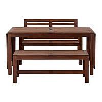 IKEA ЭПЛАРО Стол+2 скамьи, д/сада, коричневая морилка, (390.539.31)