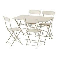 IKEA САЛЬТХОЛЬМЕН Стол+4 складных стула, д/сада, бежевый, (592.180.83)
