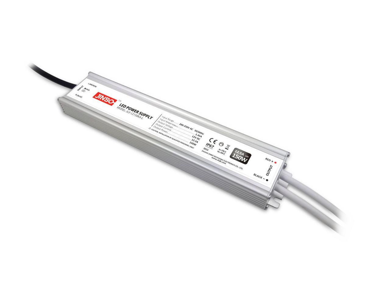 """Блок питания импульсный JINBO Slim 150W 12V (IP67, 12.5А)Series """"JLV"""""""