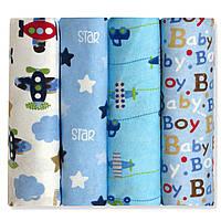 Комплект многоразовых пеленок для новорожденных фланелевых Самолёты в небе 4 шт. 73 х 73 см. Berni (52547)